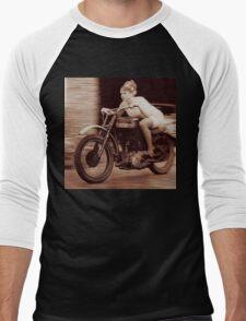 Vintage Biker Girl Men's Baseball ¾ T-Shirt