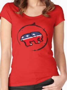 Republican Elephant Grunge Women's Fitted Scoop T-Shirt