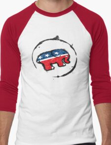 Republican Elephant Grunge Men's Baseball ¾ T-Shirt