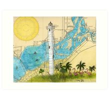 Gasparilla Lighthouse FL Nautical Map Cathy Peek Art Print