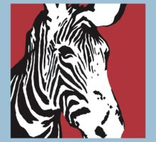 Red Zebra - Pop Art Graphic T-Shirt Kids Clothes