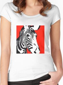 Red Zebra - Pop Art Graphic T-Shirt Women's Fitted Scoop T-Shirt