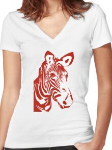 Zebra - Pop Art Graphic T-Shirt (red) Women's Fitted V-Neck T-Shirt