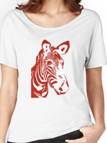 Zebra - Pop Art Graphic T-Shirt (red) Women's Relaxed Fit T-Shirt