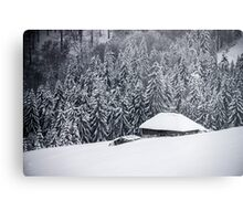 Wooden house in the snow Metal Print
