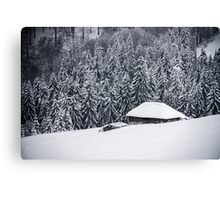Wooden house in the snow Canvas Print