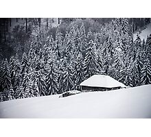 Wooden house in the snow Photographic Print
