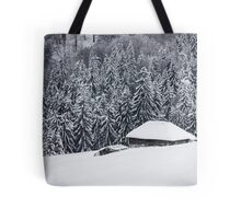 Wooden house in the snow Tote Bag