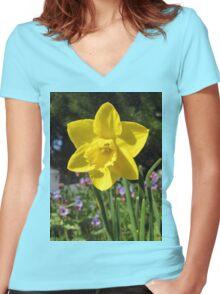 Delightful Daffodil Women's Fitted V-Neck T-Shirt