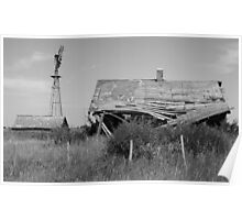 Abandoned house in monochrome Poster