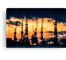 Hamburg Harbour nightfall Canvas Print