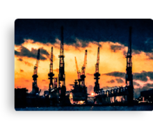 Hamburg Harbour nightfall Canvas Print