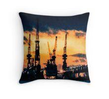 Hamburg Harbour nightfall Throw Pillow