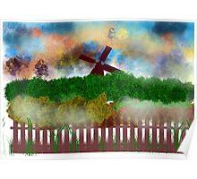 Windmill at sunrise  Poster