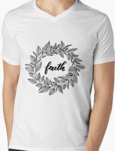 Faith Wreath Black Mens V-Neck T-Shirt