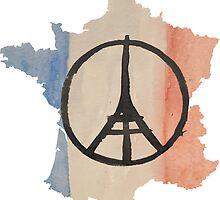 France Country OutlineTricolor Flag & Paris Peace by podartist