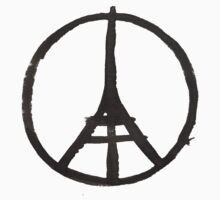 Eiffel Tower Peace Symbol Paris Terror Attacks Kids Tee