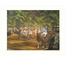 The Paddock at Saratoga Racetrack, C. 1935 Art Print