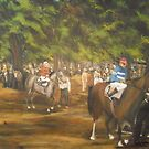 The Paddock at Saratoga Racetrack, C. 1935 by Jsimone