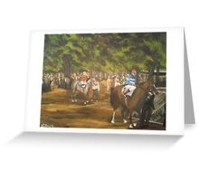 The Paddock at Saratoga Racetrack, C. 1935 Greeting Card
