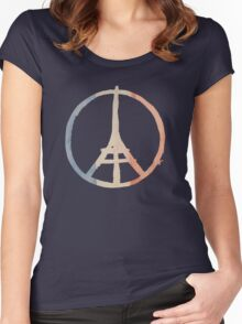 Paris Peace Eiffel Tower in Tricolor Colors Women's Fitted Scoop T-Shirt