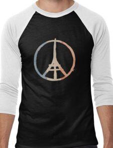 Paris Peace Eiffel Tower in Tricolor Colors Men's Baseball ¾ T-Shirt