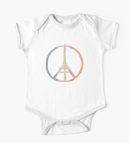 Paris Peace Eiffel Tower in Tricolor Colors One Piece - Short Sleeve