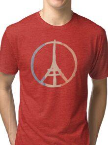 Paris Peace Eiffel Tower in Tricolor Colors Tri-blend T-Shirt