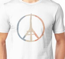Paris Peace Eiffel Tower in Tricolor Colors Unisex T-Shirt