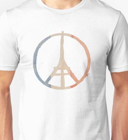 Paris Peace Eiffel Tower in Tricolor Colors Unisex T-Shirt