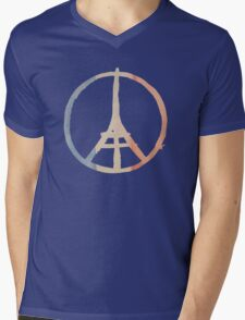 Paris Peace Eiffel Tower in Tricolor Colors Mens V-Neck T-Shirt