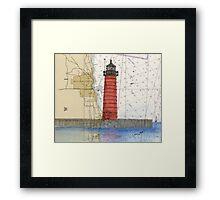 Kenosha Lighthouse WI Nautical Chart Cathy Peek Framed Print