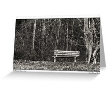 Bench by a Woods Greeting Card