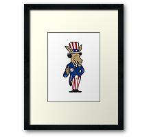 Democrat Donkey Mascot Thumbs Up Flag Framed Print