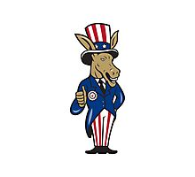 Democrat Donkey Mascot Thumbs Up Flag Photographic Print