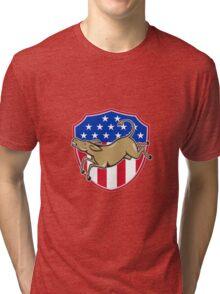 Democrat Donkey Mascot American Flag Tri-blend T-Shirt