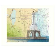 Port Washington Lighthouse WI Nautical Map Cathy Peek Art Print