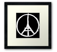 White Eiffel Tower Repeat on Black Paris Terror Attacks Framed Print