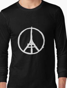 White Eiffel Tower Repeat on Black Paris Terror Attacks Long Sleeve T-Shirt
