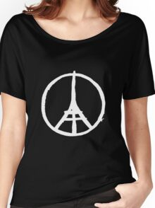 White Eiffel Tower Repeat on Black Paris Terror Attacks Women's Relaxed Fit T-Shirt