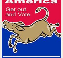 Democrat Donkey Mascot America Vote by patrimonio