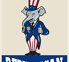 Republican Elephant Mascot Thumbs Up USA Flag by patrimonio
