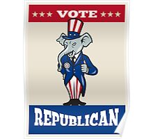 Republican Elephant Mascot Thumbs Up USA Flag Poster