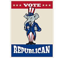 Republican Elephant Mascot Thumbs Up USA Flag Photographic Print