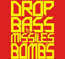 DROP BASS NOT MISSILES AND BOMBS (YELLOW) Womens Fitted T-Shirt