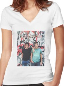 Dolan Twins Sarcasm Women's Fitted V-Neck T-Shirt
