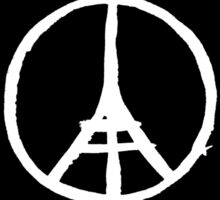 White Eiffel Tower on Black Paris Terror Attacks Sticker