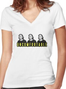 Uncomfortable- Yellow Women's Fitted V-Neck T-Shirt