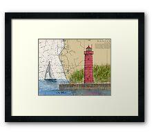 Muskegon Lighthouse MI Nautical Chart Cathy Peek Framed Print
