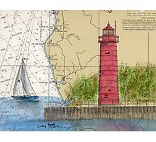 Muskegon Lighthouse MI Nautical Chart Cathy Peek Photographic Print